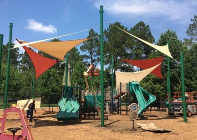 Playset integrated playground shade