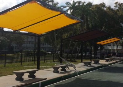 Pool bleachers cantilevered shade structure