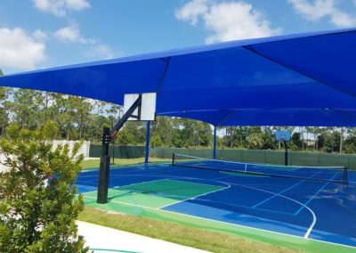 Basketball court mega span shade structure