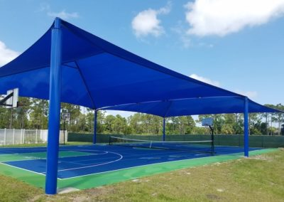 Basketball court under mega shade structure